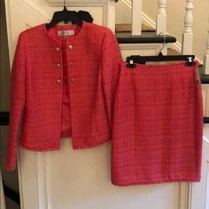 NWT Tahari coral tweed suit set. Size 2.